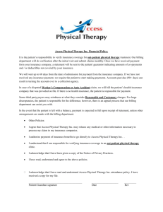 Access Physical Therapy Inc. Financial Policy