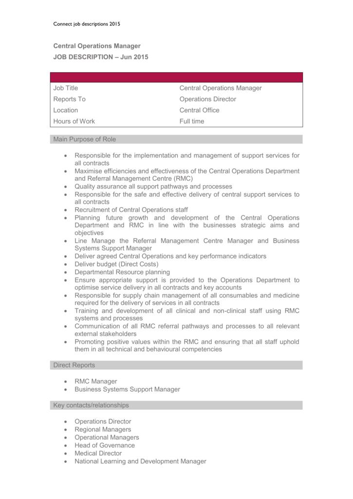 Operations Director Job Description | Central Operations Manager Job Description Job Description 2015