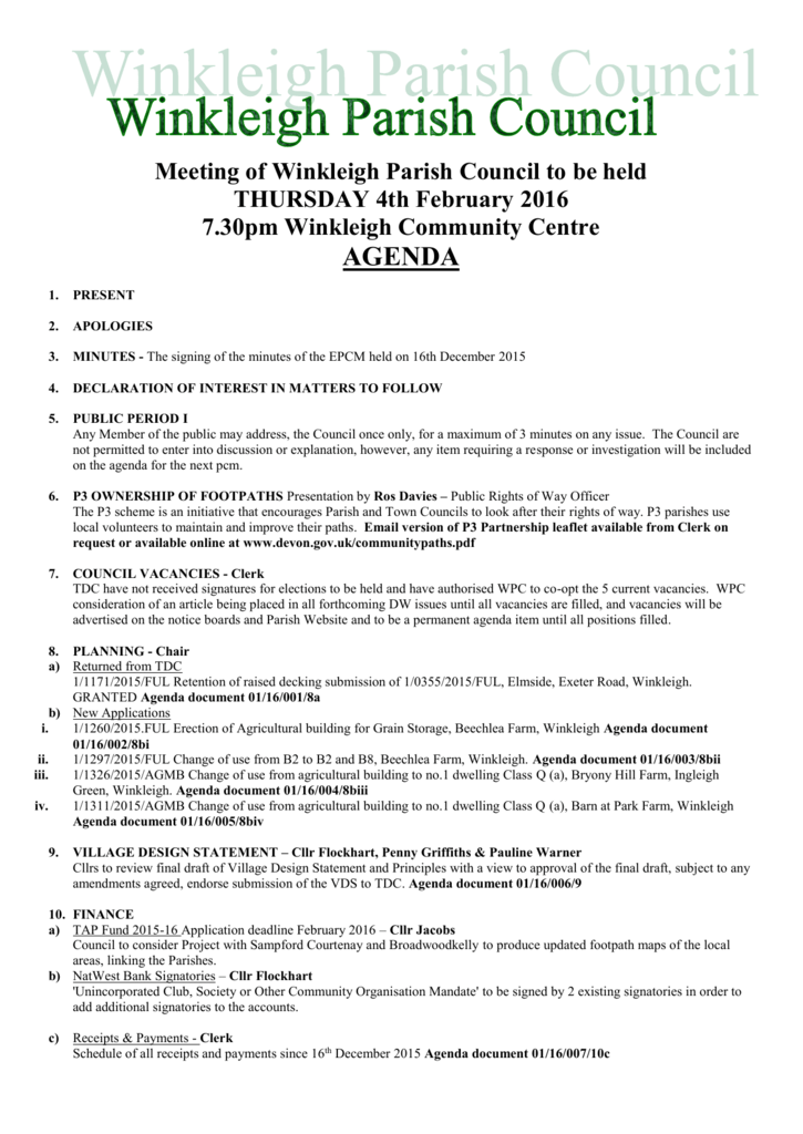 Meeting Of Winkleigh Parish Council To Be Held Thursday 4th