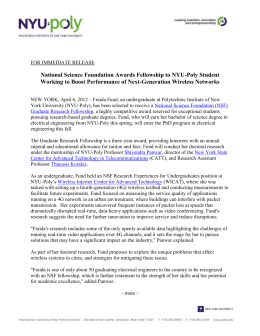 FOR IMMEDIATE RELEASE National Science Foundation Awards