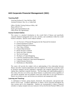 643 Corporate Financial Management (502)