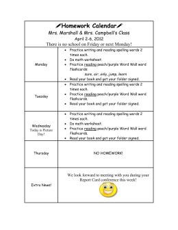 Homework Calendar - Galena Park Independent School District