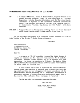COMMISSION ON AUDIT CIRCULAR NO. 80-137