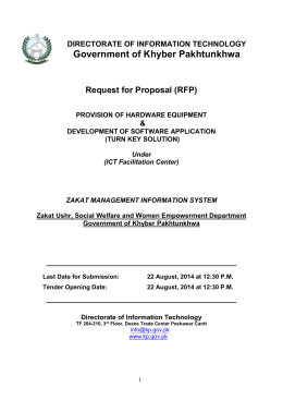 RFP for Turnkey Solution on ICT in Zakat