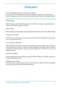 Editing report The most important aspects to consider when editing