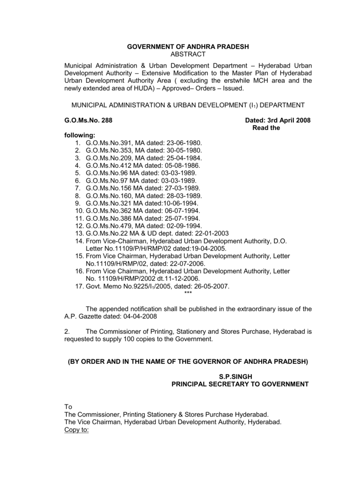 G O  Ms  No  288 - Hyderabad Metropolitan Development Authority