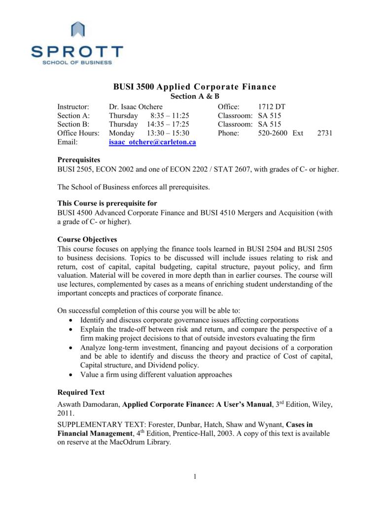 busi 3500 applied corporate finance rh studylib net
