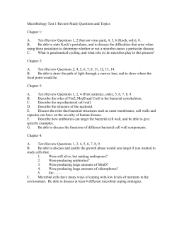 Microbiology Test 1 Review/Study Questions and Topics