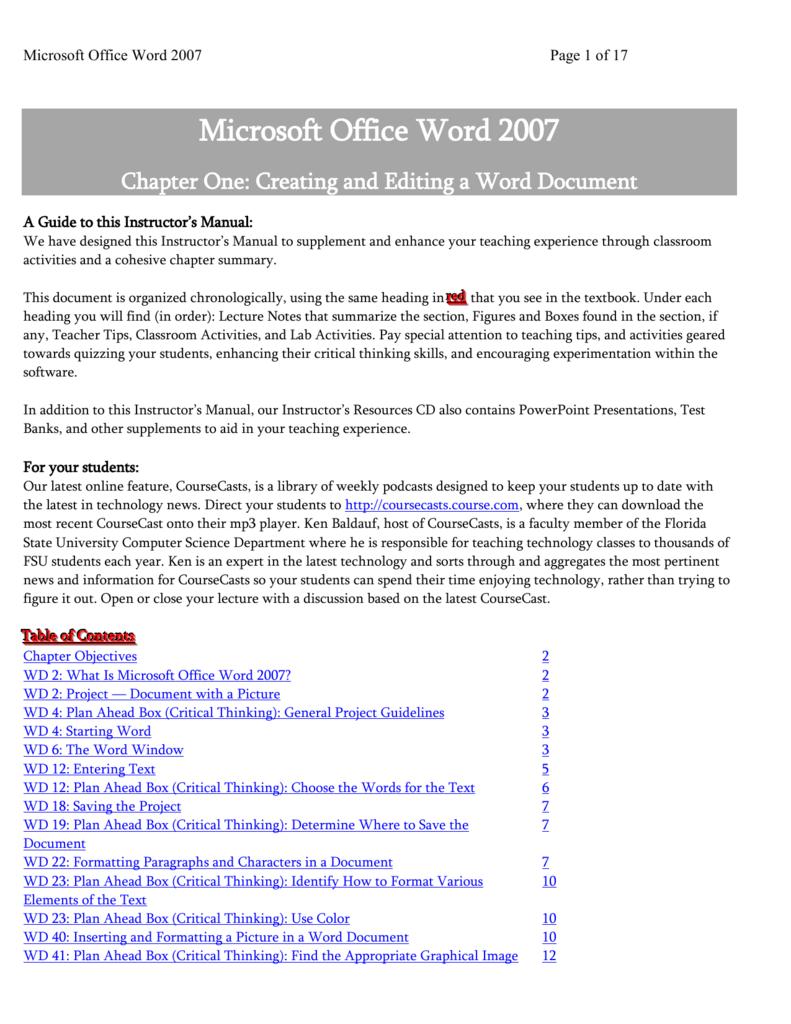 microsoft office word 2007 rh studylib net
