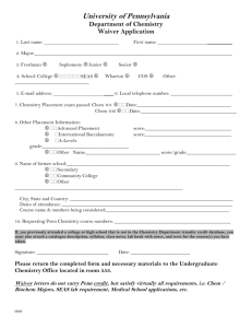 Waiver Application - Department of Chemistry