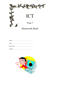 ICT homework year 7 booklet