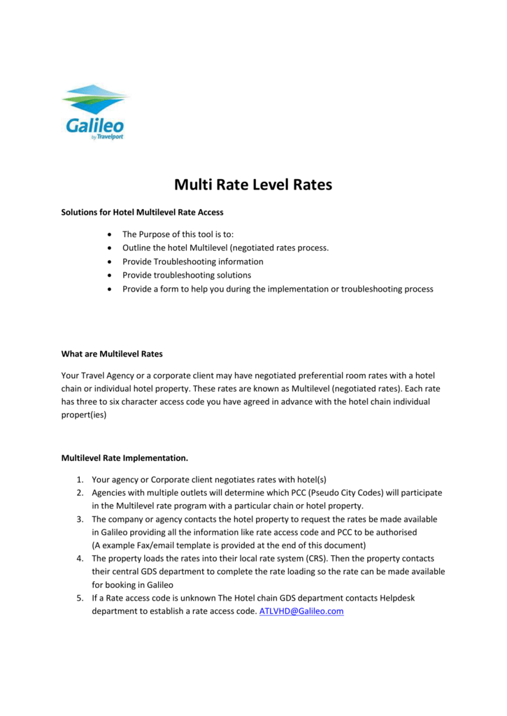 Multi Rate Level Rates Solutions for Hotel Multilevel Rate