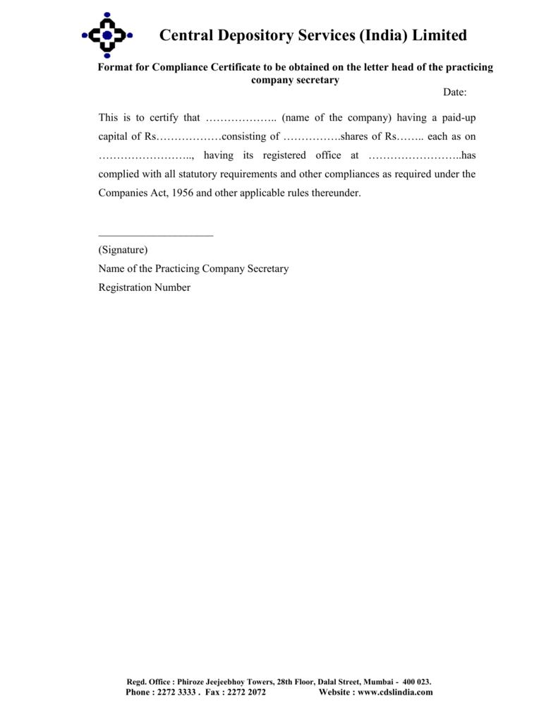 Compliance Certificate By Company Secretary Best Design
