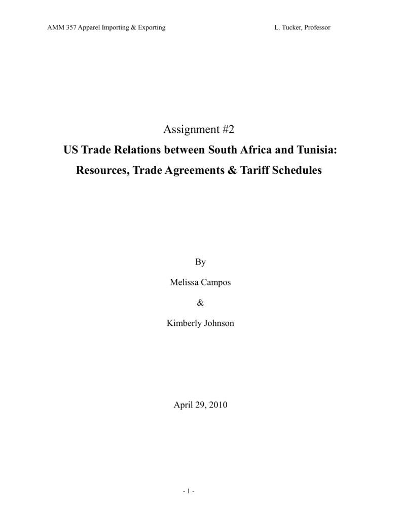 US Trade Relations between South Africa and