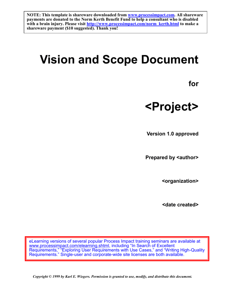 Vision and Scope Template