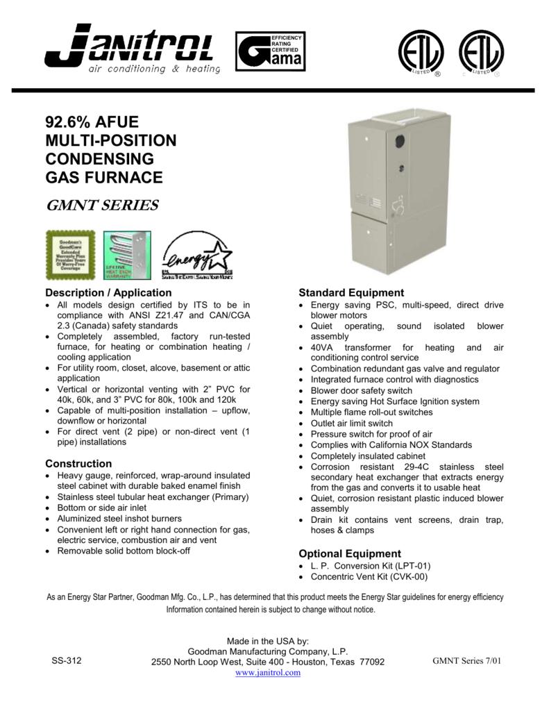 gmnt furnace spec sheet rh studylib net Goodman Heat Kit Wiring Diagram Goodman Gas Furnace Wiring Diagram