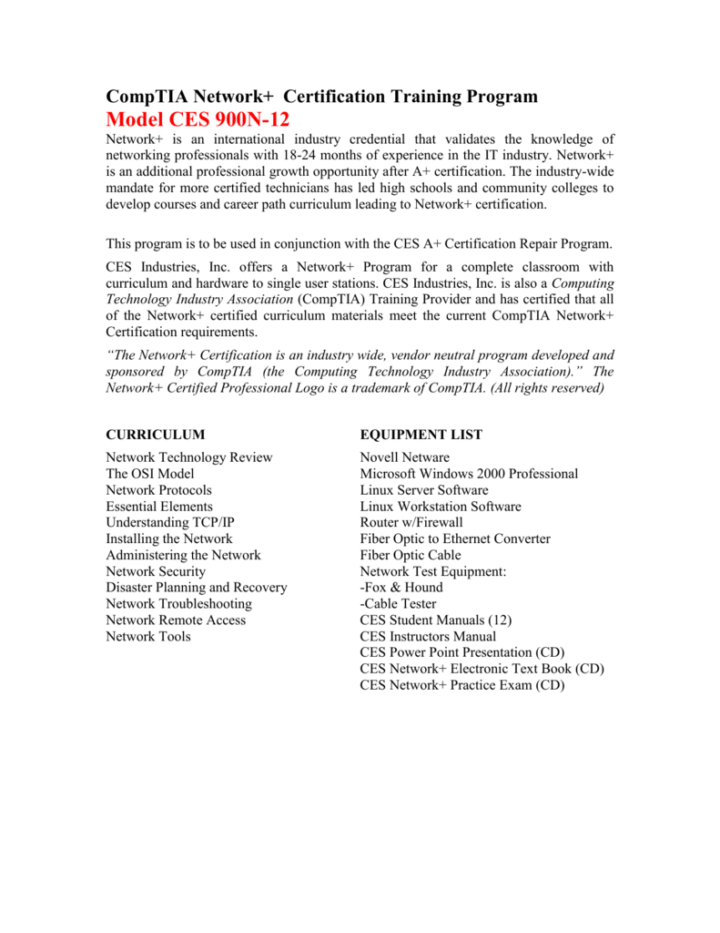 Comptia Network Certification Training Program