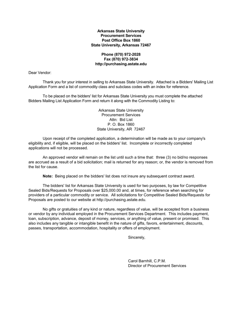 465f67bbf86 Vendor Application Form - Arkansas State University