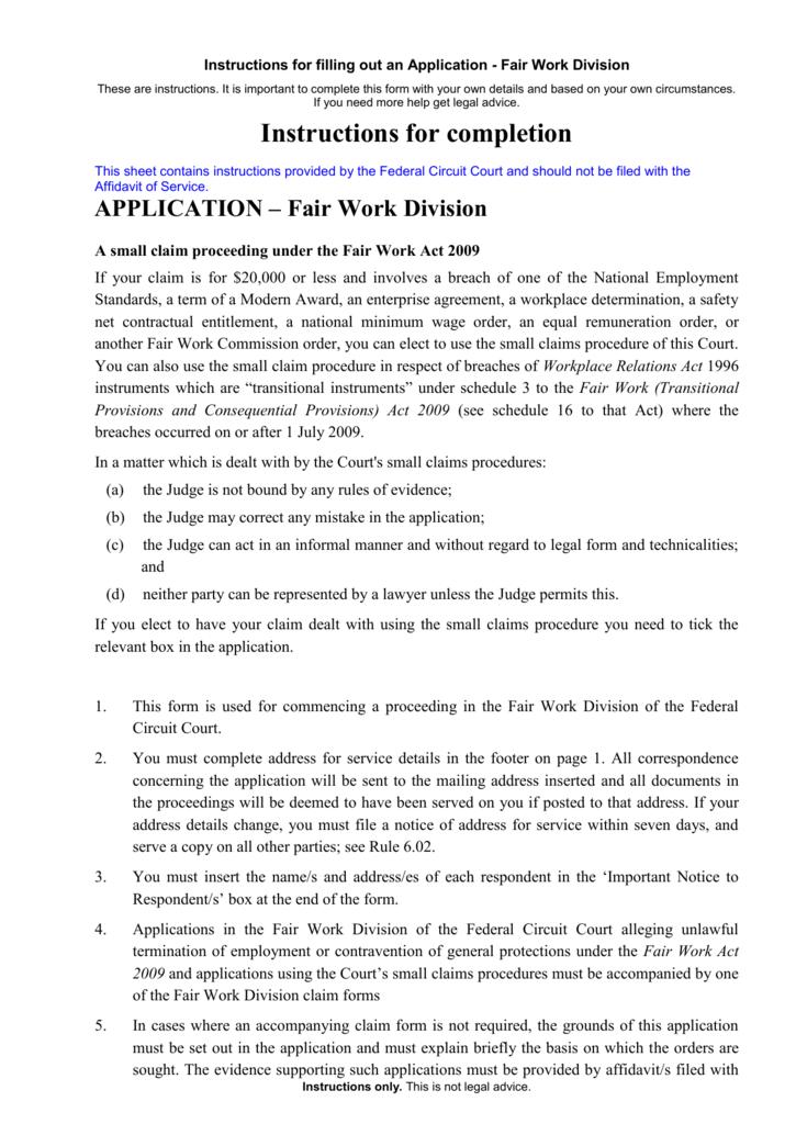 Fair Work Division Application