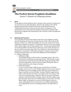 The Perfect Storm Prophetic Headlines Session 3: Disasters