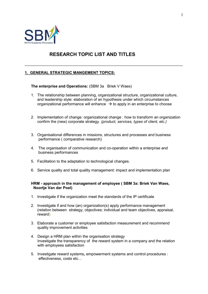 1 RESEARCH TOPIC LIST AND TITLES 1  GENERAL STRATEGIC