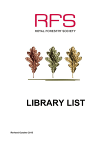 library list - the Royal Forestry Society