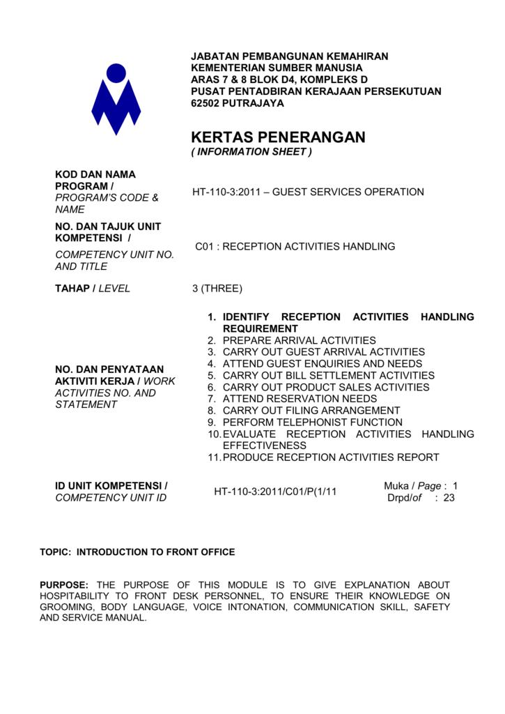 Information Sheet 1/Cocu 1 - Malaysia Vocational Training