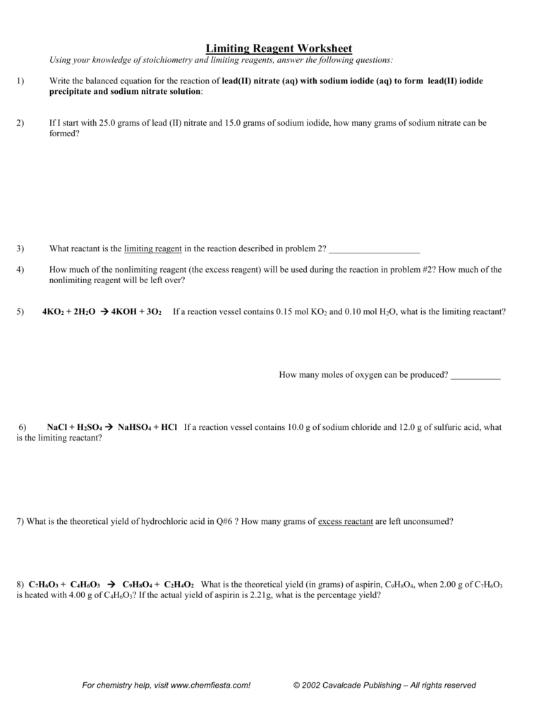 worksheet Limiting Reactant And Percent Yield Worksheet limiting reagent worksheet