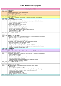 SERE 2012 Tentative program