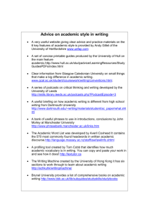Advice on academic style in writing