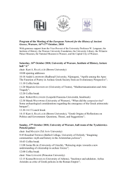 Program of the Meeting of the European Network for the History of