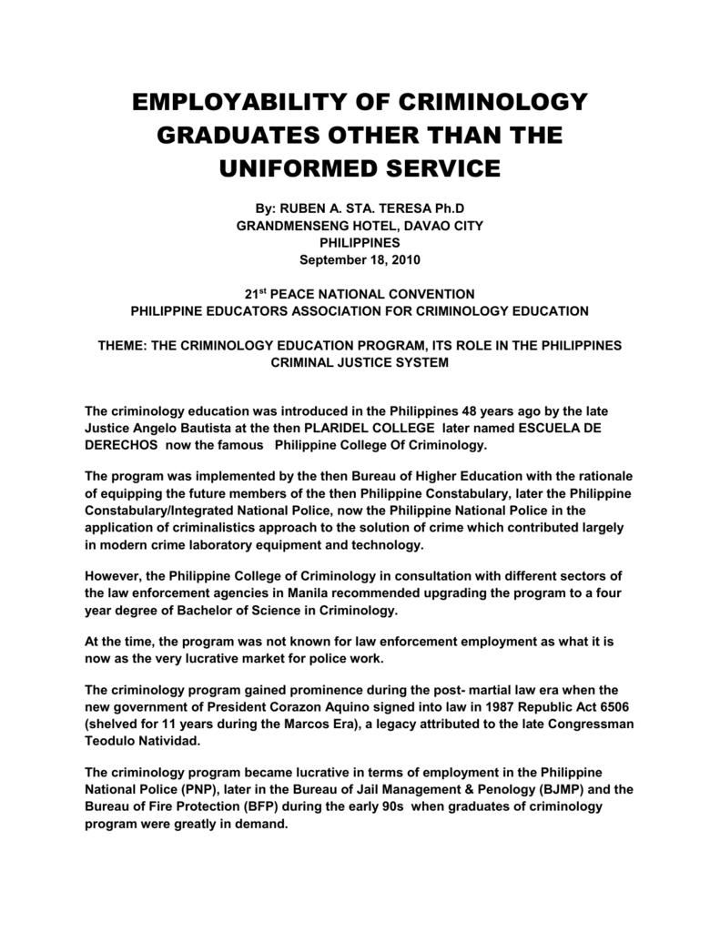 Employability of Criminology Graduates