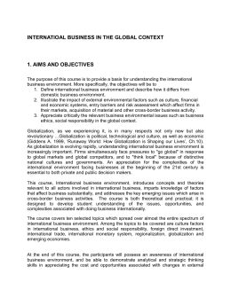 INTERNATIOAL BUSINESS IN THE GLOBAL CONTEXT