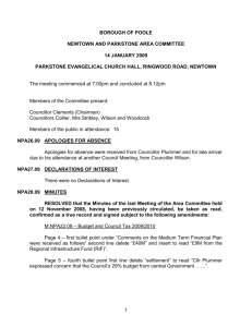 Newtown and Parkstone Area Committee Minutes