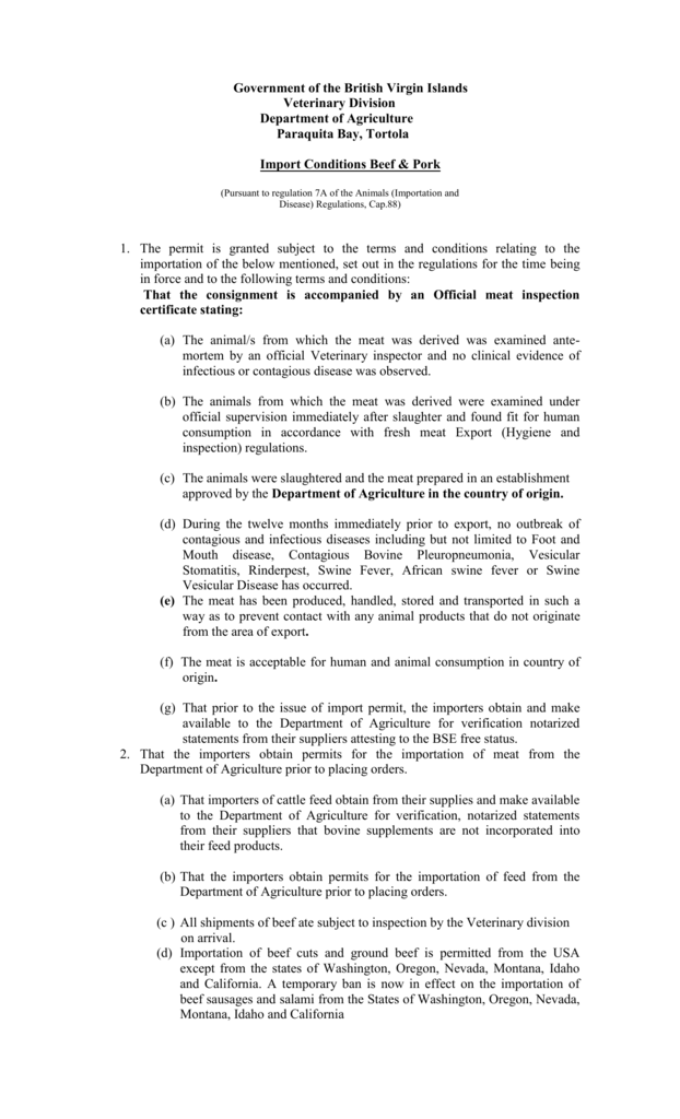 Conditions for Beek and Pork - Government of the Virgin Islands