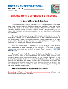 Officer and Directors - Rotary District 3860