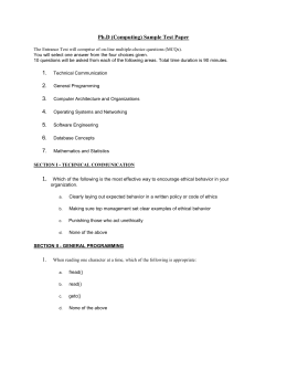 Ph.D (Computing) Sample Test Paper The Entrance Test will