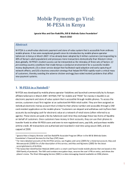 Mobile Payments go Viral: M-PESA in Kenya