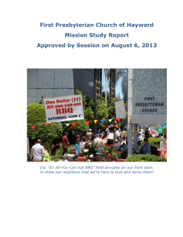 First Presbyterian Church of Hayward Mission Study Report