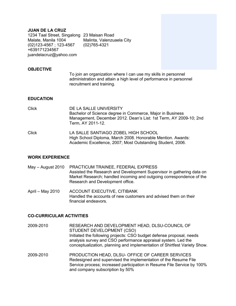 Resume Template 1