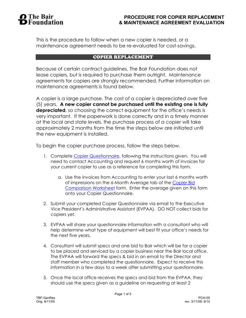 Copier Replacementmaintenance Agreement Renewal