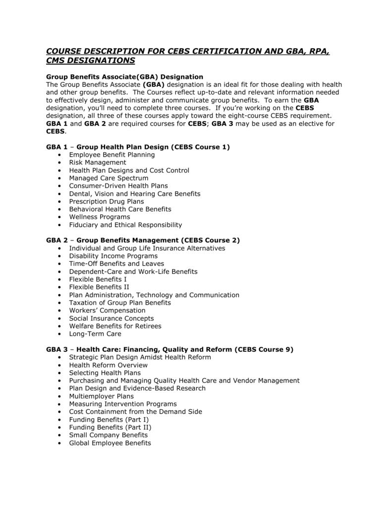 Group Benefits Associate Gba Designation