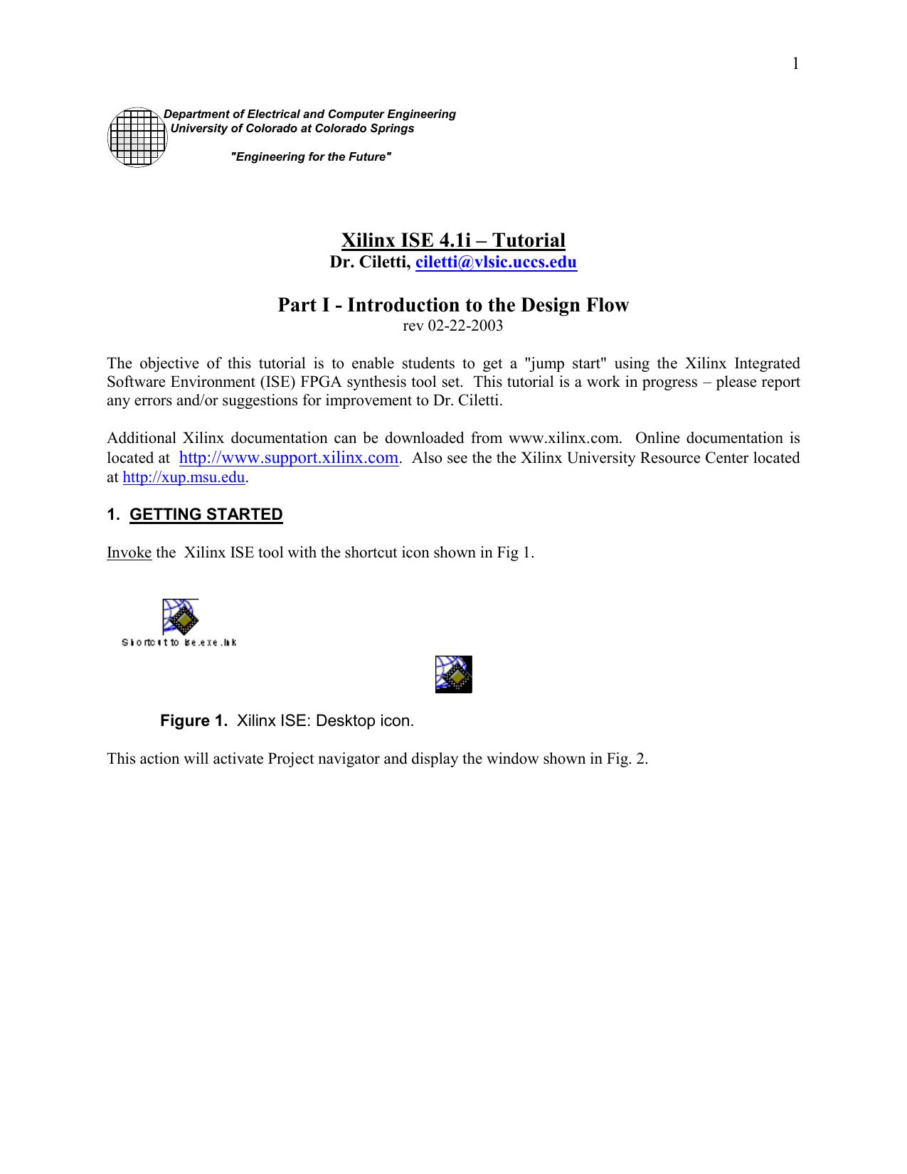 Xilinx ISE 4 1i – Tutorial