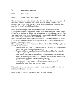 Sample Unsafe School Choice Option letter to