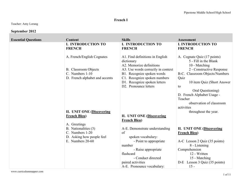 Curriculum Map Pipestone Area Schools