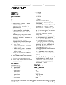 Chapter Tests With Answer Key Modern Chemistry, 2006 ...