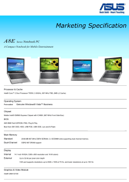 Marketing Specification A8E Series Notebook PC A Compact