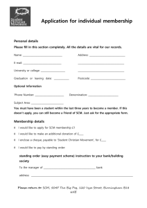 SCM Membership Form - Student Christian Movement