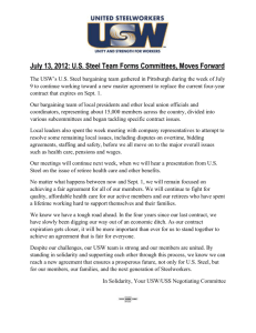 July 13, 2012: U.S. Steel Team Forms Committees, Moves Forward
