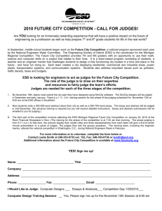 2010 FUTURE CITY COMPETITION - CALL FOR JUDGES! Are YOU